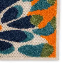 orange blue indoor outdoor area rug
