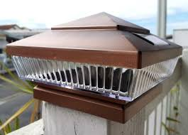 Copper Solar Deck Post Lights 6x6 With 5 Led Low Profile Set Of 2 Deck Post Lights Post Lights Deck Post Caps