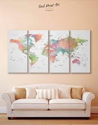 4 Panel Multicolor Watercolor Map Wall Art Canvas Print At