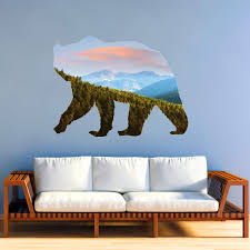 Vwaq Grizzly Bear Mountain Range Wall Decal Natural Animal Peel And