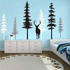Amazon Com Large Forest Pine Tree With Deer Wall Decals Woodland Trees Wall Sticker For Nursery Room Art Kids Room Bedroom Decoration Forest Tree Animal Wall Mural White Gray Black W Deer Kitchen Dining