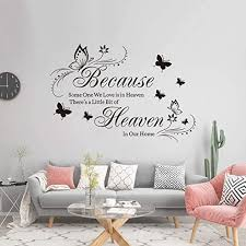 Amazon Com Supzone Because Someone We Love Is In Heaven Wall Decals Flowers Quotes And Sayings Butterfly Wall Stickers Big Size Removable Vinyl Art Bedroom Nursery Room Living Room Home Wall Decor Home