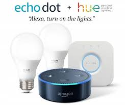 Amazon.com: Echo Dot (2nd Generation) - Black + with Philips Hue White  Smart Light Bulb Starter Kit: Amazon Devices