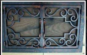 hand forged iron fireplace doors fd048
