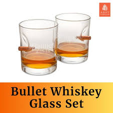 personalized bullet whiskey glass set
