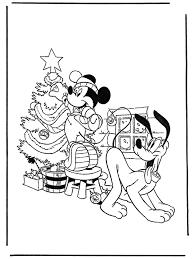 Pluto En Mickey Met Kerstboom Kleurplaat Mickey Mouse