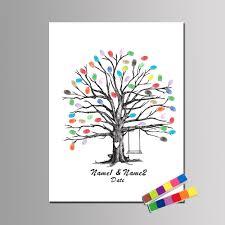 Personalizar Huella Digital Libro Arbol De Amor Mano Dibujar Boda