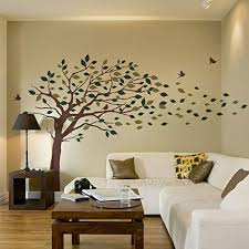 Simple Shapes Blowing Leaves Tree Wall Decals Scheme A Amazon Com