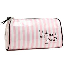 makeup bag with pink white stripes