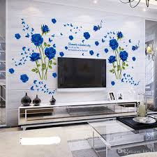 Wholesale Blue Flower Mural Rose 3d Wall Stickers Photo Mural Wallpaper For Sofa Tv Background Room Murals Flower Wall Decal Flower Wall Decals From Kity12 4 03 Dhgate Com