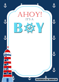 Free Nautical Themed Baby Shower Invitations Templates
