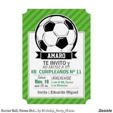 Invitacion Balon De Futbol Rayas Verdes Zazzle Com Rayas