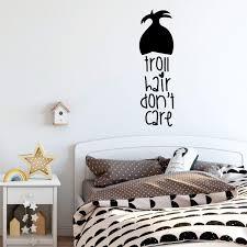 Amazon Com Girl S Room Wall Decal Troll Hair Don T Care Children Or Teen Vinyl Decoration For Bedroom Or Playroom Decor Handmade