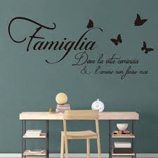 Best Promo C4ec Large Wall Stickers Italian Family Where Life Begins Quote For Bedroom Wall Decals Wallpaper Italian Love Quote Wall Decal Mural Cicig Co
