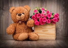 roses basket bouquet teddy bear