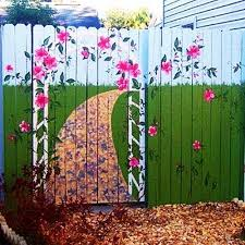 Colorful Painting Ideas For Fences Adding Bright Decorations To Yard Landscaping