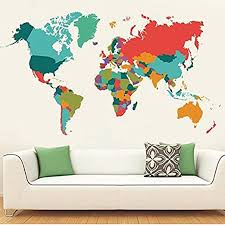 Amazon Com Wealake Colourful World Map Wall Decals Peel And Stick Removable Wall Stickers Diy Art Decor Mural Vinyl Home Kids Room Office Decal 42 3 X 23 6 Home Kitchen