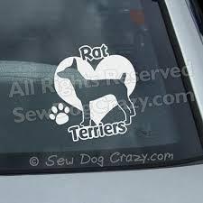 Love Rat Terriers Vinyl Decal Sew Dog Crazy