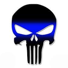 Punisher Skull Thin Blue Line 20 Large Size Vinyl Sticker For Truck Car Cornhole Board Sticker Size 20 Walmart Com Walmart Com