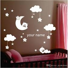Moon And Star Vinyl Wall Stickers For Nursery Room Personalized Name Cute Smiling Stars With White Clouds Baby Room Decor 80 130 Cm Large Vinyl Wall Decals Large Wall Art Decals From Joystickers
