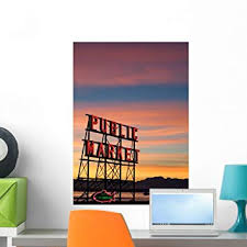 Amazon Com Wallmonkeys Fot 7528221 24 Wm322572 Pike Place Market Neon Sign In Seattle Peel And Stick Wall Decals 24 In H X 16 In W Medium Home Kitchen