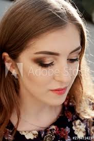 makeup of young brown haired
