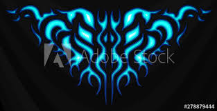 Neon Tribal Blue Flames Sticker On The Hood Car Bike Vehicle Graphics Vinyls Decals Abstract Flame Vector Illustration Buy This Stock Vector And Explore Similar Vectors At Adobe Stock