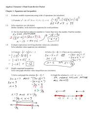 algebra 2 semester 1 final exam review