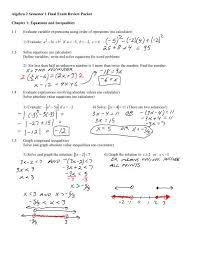 algebra 2 semester 1 final exam review