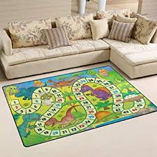 Amazon Com My Little Nest Kids Children Dinosaur Board Game Play Area Rug Baby Boys Girls Non Slip Soft Educational Fun Carpets For Bedroom Classroom Nursery 3 3 X 5 Furniture Decor