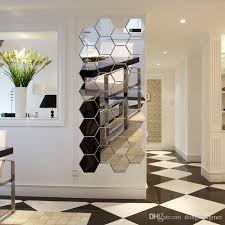 hexagon acrylic mirror wall stickers