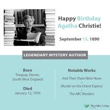Happy 126th birthday Agatha Christie!... - West Valley College Library |  Facebook