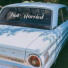 Amazon Com Vinyl Wall Art Decal Just Married 4 X 25 Text Couples Wedding Reception Home Car Windshield Sticker Marriage Wedlock Family Love Gifts Window Mirror Decor Kitchen Dining