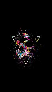 skull multi color sketch art