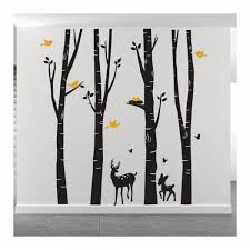 Giant Birch Trees Wall Decals With Deer And Birds Vinyl Wall Art Removable Mural Wall Decal Stickers For Home Living Room Kids Bedroom Baby Nursery Decoration Wallsymbol Com