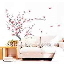 Removable Wall Stickers Plum And Butterflies Home Decoration Giant Wall Decals 130 200cm Jm7138