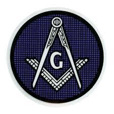 Blue Round Masonic Car Window Sticker Decal Masonic Car Emblem With Blue And White Compass And Square Logo Inside Window Front Adhesive Mason Zone