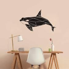 Modern Geometric Killer Whale Orca Wall Decal Sea Animal Decor Waterproof Vinyl Stickers For Kids Rooms Bathroom Classroom D949 Wall Stickers Aliexpress