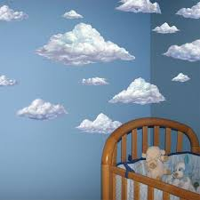 Cloud Wallpaper Nursery Wall Decals Baby Room Decor Kids Room Wall Wall Mural Decals Sky And Clouds