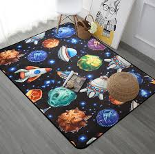 Starship Rocket Navy Blue Black Rug For Kids Bedroom Anti Slip Floor Mat Hallway Pad Mat Children Learning Carpet Baby Play Mat Carpet Aliexpress