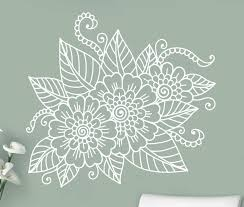 Abstract Flowers Mehndi Wall Vinyl Sticker Henna Indian Ornament Decal Indian Religions Home Decor Paisley Removable Mural Home Decor Vinyl Stickerswall Vinyl Aliexpress