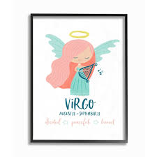 Shop The Kids Room By Stupell Fun Modern Zodiac Virgo Angel Framed Giclee 11 X 1 5 X 14 Made In Usa Multi Color Overstock 22365858