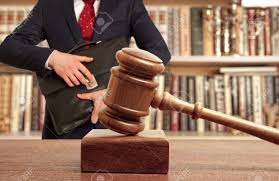 Caucasian Lawyer In Court. Law Concept Stock Photo, Picture And ...