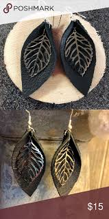 black leather leaf earrings with silver