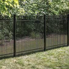 Freedom Actual 4 91 Ft X 6 02 Ft Standard York Black Aluminum Flat Top Decorative Metal Fence Panel Lowes Com In 2020 Metal Fence Panels Metal Fence Fence Panels