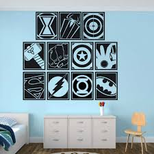 Various Superheroes Pattern Vinyl Wall Decals Boys Room Decor The Avengers Wall Sticker Batman Spiderman Hero Wall Poster Az407 Wall Stickers Aliexpress