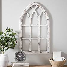 Antiqued White Window Pane Arch Plaque Kirklands