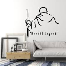 Vinyl Wall Decal Gandhi Jayanti Famous Indian Human Stickers Mural G3 Wallstickers4you