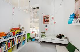 Shelves In Kids Bedroom With White Bed And Grey Floor Hupehome