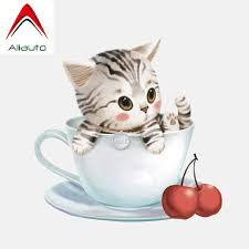 Aliauto Car Sticker Lovely Kitten In A Teacup Accessories High Quality Pvc Decal For Smart Fortwo 451 Bmw X6 Chevrolet 17cm 16cm Car Stickers Aliexpress